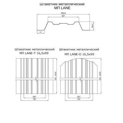 Штакетник «ЭкоНова» 100 мм с полукруглым (прямым) верхом