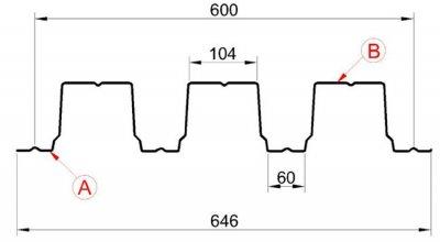 Профилированный лист Н-114х600